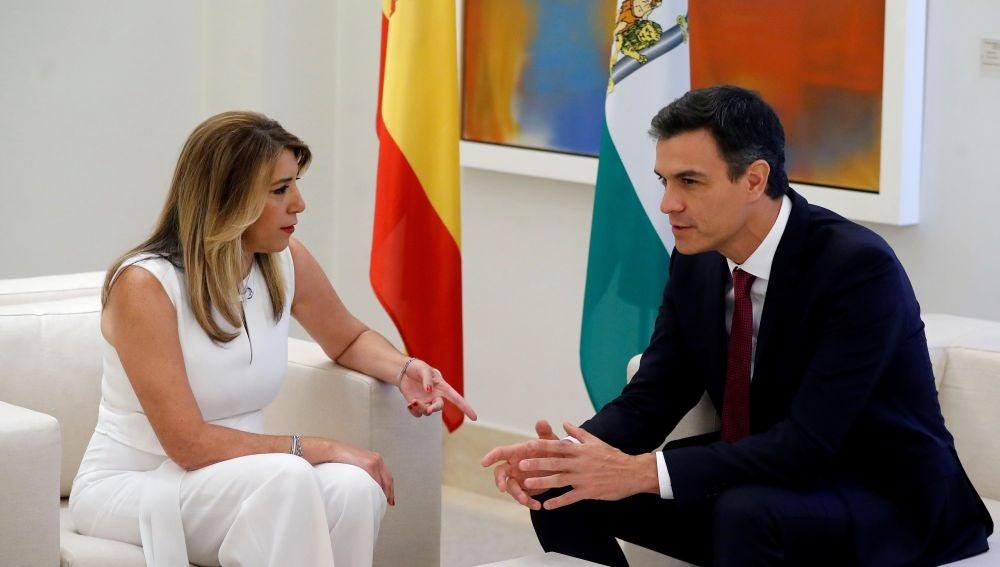 Pedro Sánchez y Susana Díaz se reúnen en el Palacio de La Moncloa.