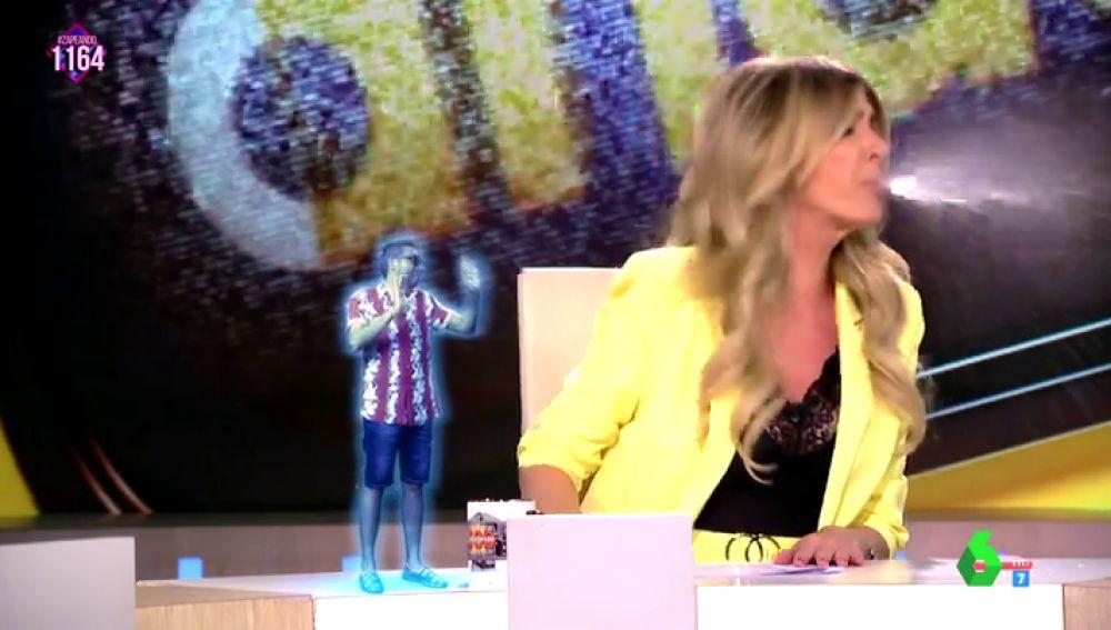 """La 'novatada' de Frank Blanco a Anna Simon que termina con la presentadora escupiendo en pleno directo: """"¡Qué pringada eres!"""""""
