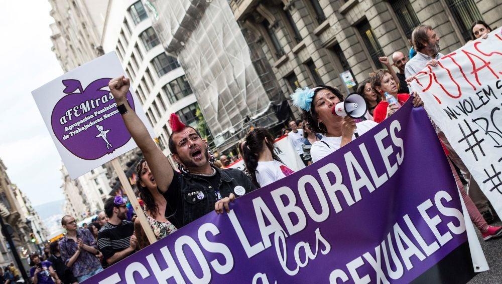 Imagen de archivo de una manifestación de colectivos feministas y de trabajadoras sexuales en Barcelona.