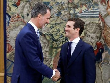 El rey Felipe VI recibe en el Salón de Audiencias del Palacio de la Zarzuela a Pablo Casado.