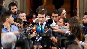 Pablo Casado ante los medios de comunicación