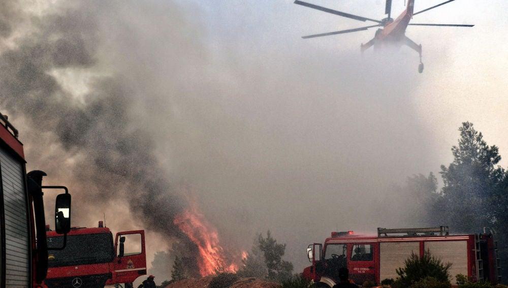 Un helicóptero intenta extinguir un fuego en Verori, cerca de la ciudad de Loutraki (Grecia