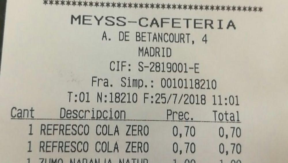 Ticket de la cafetería del Ministerio de Trabajo