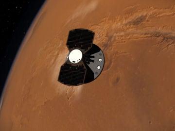 Recreación artística de la sonda InSight a punto de entrar en la fase EDL