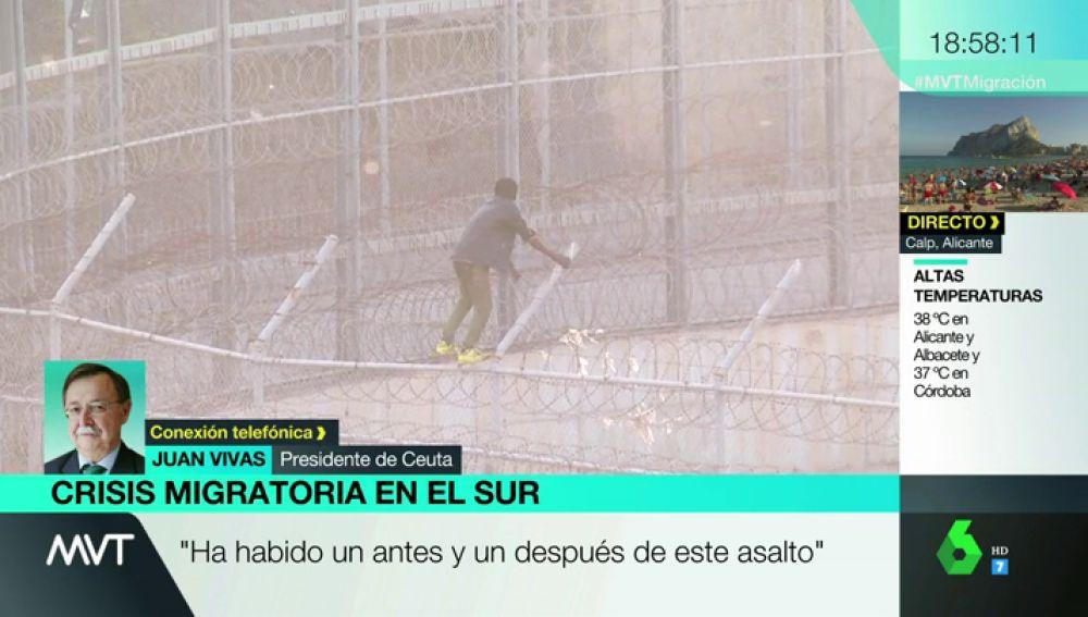 """Juan Vivas, presidente de Ceuta, tras el violento salto masivo a la valla: """"Nuestro apoyo absoluto a la Guardia Civil. Estamos ante un problema de extraordinaria envergadura"""""""