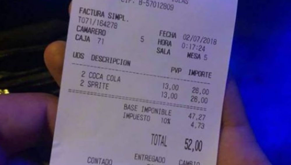 La desorbitada cuenta en un establecimiento de Ibiza.