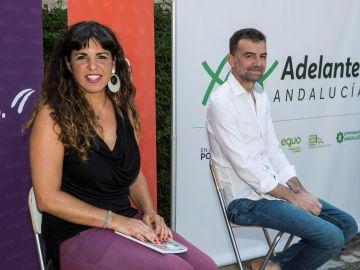 Teresa Rodríguez, coordinadora general de Podemos Andalucía y Antonio Maíllo, coordinador general de IU Andalucía