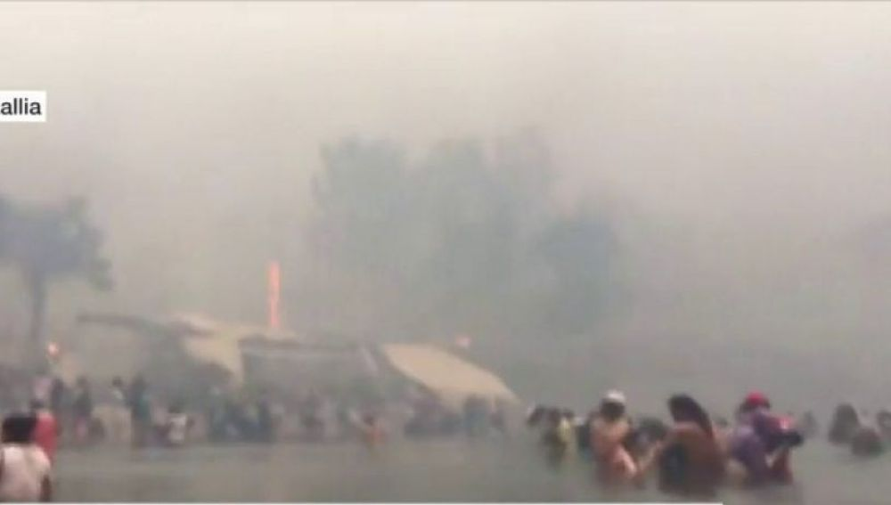 Víctimas del incendio de Grecia en el mar