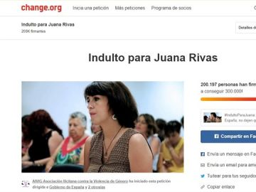 En la imagen la plataforma donde se puede firmar el indulto para Juana Rivas