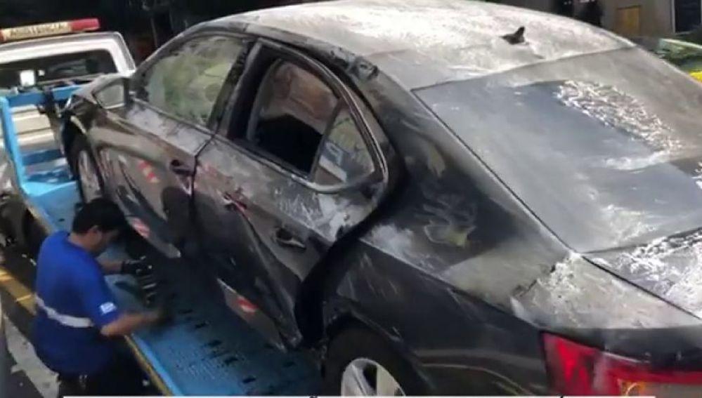Coche de Cabify dañado por las agresiones de los taxistas