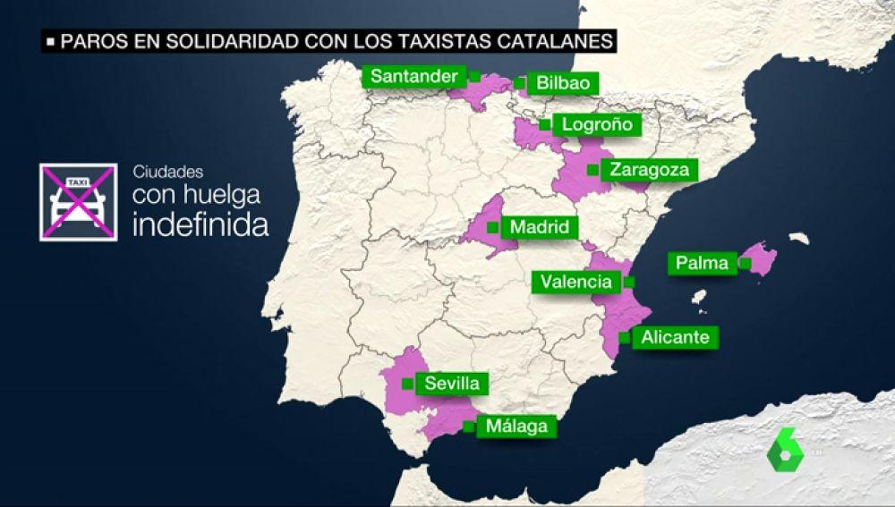 Ciudades con huelga de taxis indefinida