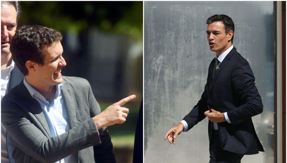 Pablo Casado, presidente del PP, y Pedro Sánchez, presidente del Gobierno