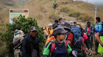 Senderistas locales y extranjeros bajan de la montaña Rinjani