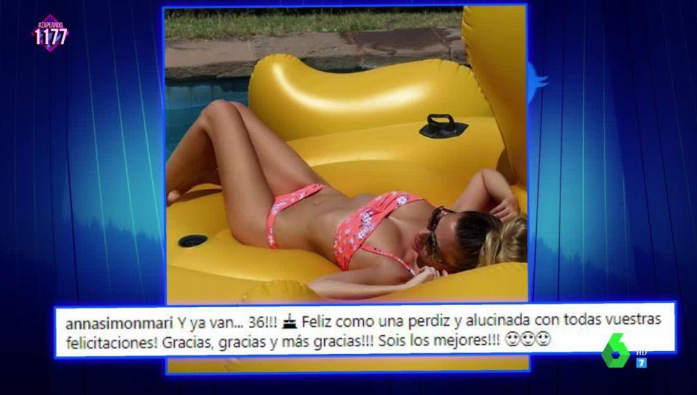 """Anna Simon celebra su 36 cumpleaños """"de vacaciones"""" y luciendo palmito al sol"""