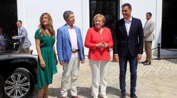 Ángela Merkel, recibida por Pedro Sánchez en Doñana