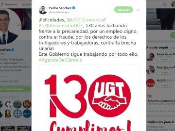 Tweet de Pedro Sánchez por el aniversario de UGT