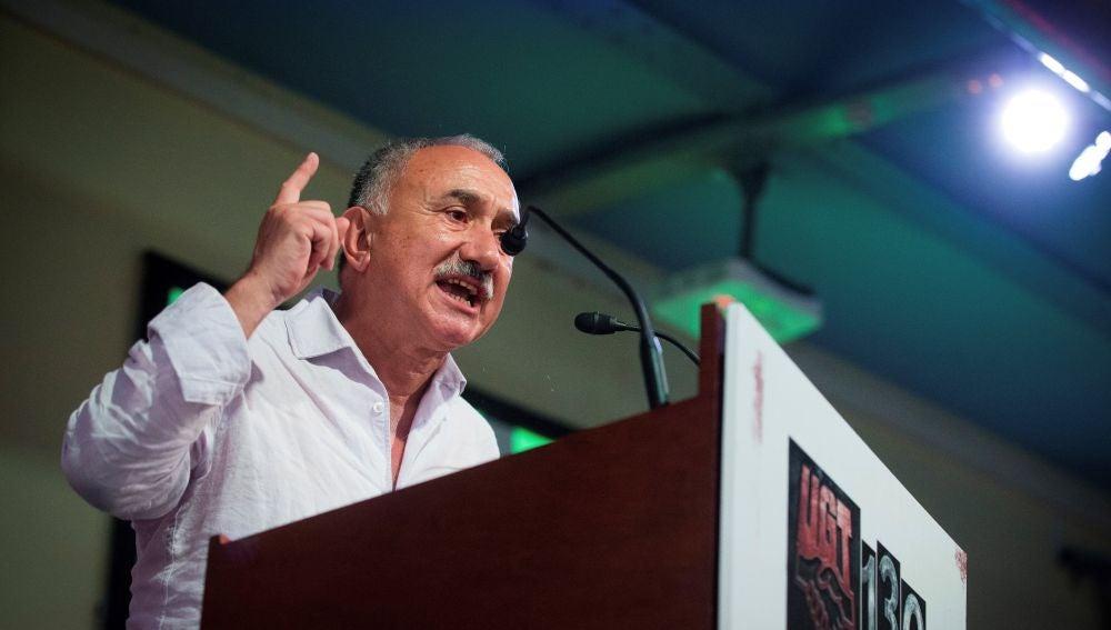 Pepe Álvarez, secretario general de UGT, durante su intervención en el acto de conmemoración de los 130 años de la fundación de UGT