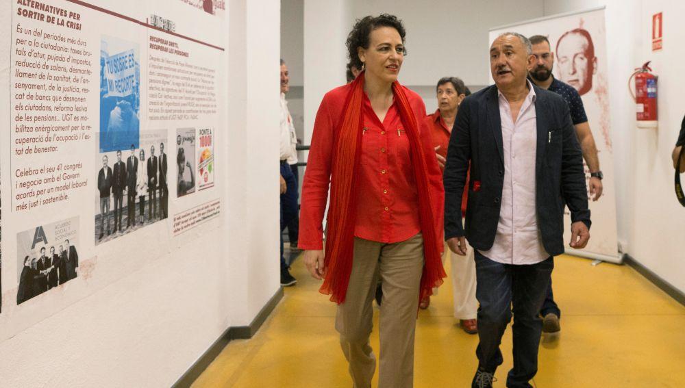 Magdalena Valerio, ministra de Trabajo y Pepe Álvarez, secretario general de UGT durante los actos de conmemoración de los 130 años de la fundación de UGT