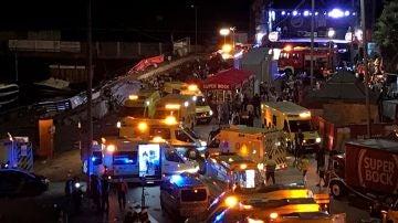 Ambulancias trasladadas al lugar del siniestro en el festival 'O Marisquiño' de Vigo