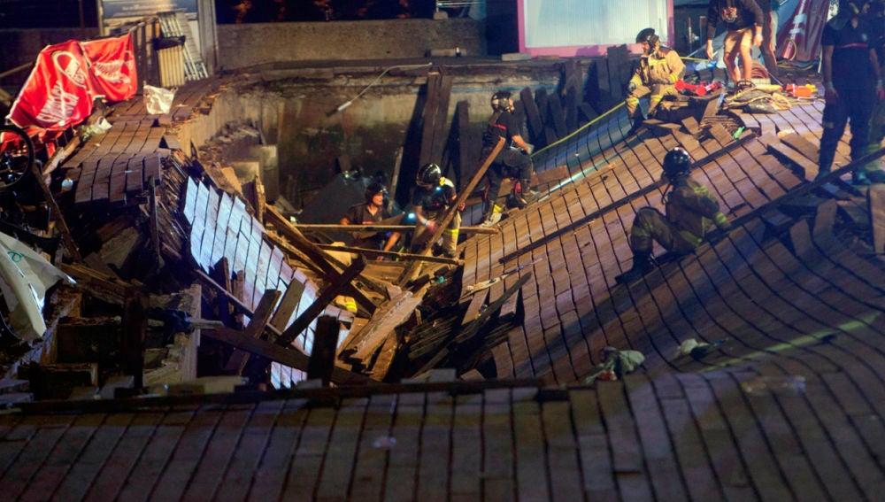 Desplome de la pasarela en Vigo