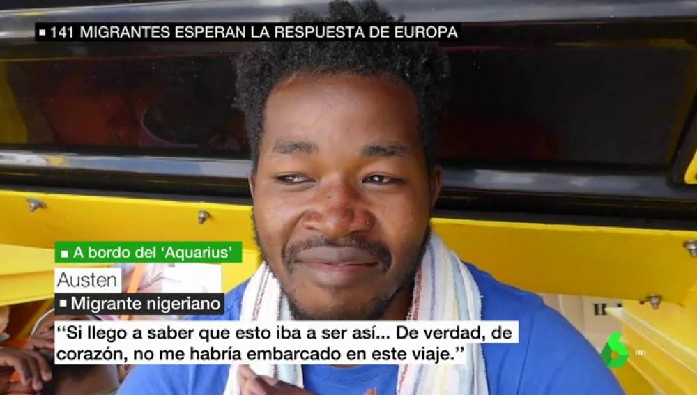 Uno de los migrantes del Aquarius