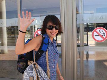 Juana Rivas en su marcha a Italia