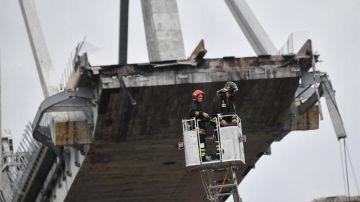 Los servicios de emergencias trabajan en el viaducto derrumbado en Génova