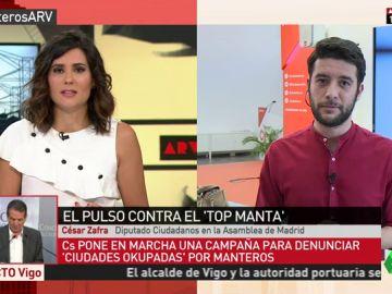 """César Zafra defiende la campaña de Ciudadanos contra los manteros: """"Entiendo que se están intentando ganar la vida, pero es algo ilegal y no lo podemos permitir"""""""