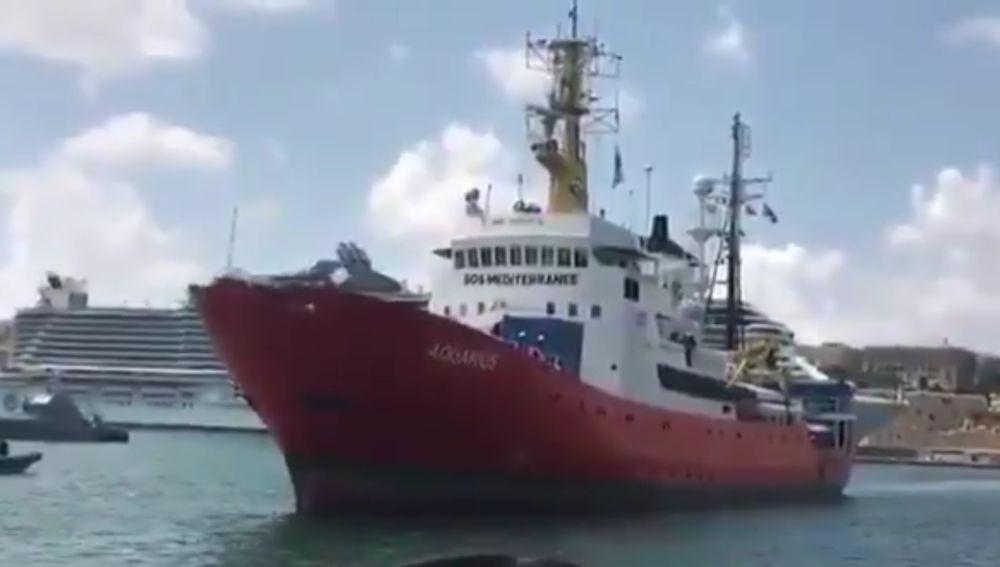 Imagen del Aquarius llegando a Malta