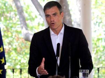 El presidente del Gobierno español, Pedro Sánchez, durante una rueda de prensa