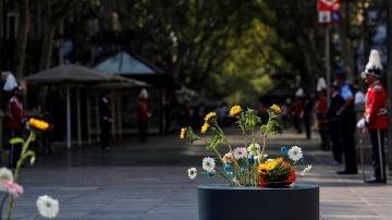 Flores homenajeando a los asesinados en los atentados de Cataluña