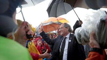 Quim Torra durante el homenaje a las víctimas de los atentados del 17A en Cambrils