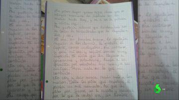 Imagen de la carta de la ex mujer del atacante de Cornellà
