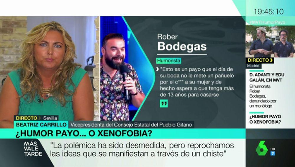"""Beatriz Carrillo, sobre el monólogo de Rober Bodegas: """"Utilizar el humor para atacar a los oprimidos en un acto mezquino y ruín"""""""