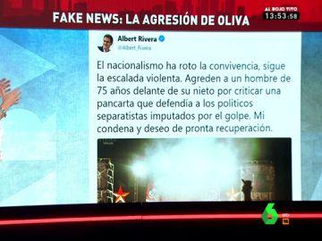 """Rivera sigue alimenta en Twitter el bulo de lo ocurrido en Oliva:  """"Agreden a un hombre de 75 años por criticar una pancarta que defendía a los presos políticos"""""""