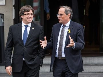 El president Quim Torra junto al expresident Carles Puigdemont