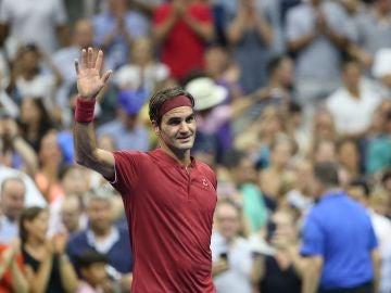 Roger Federer en un parido del US Open