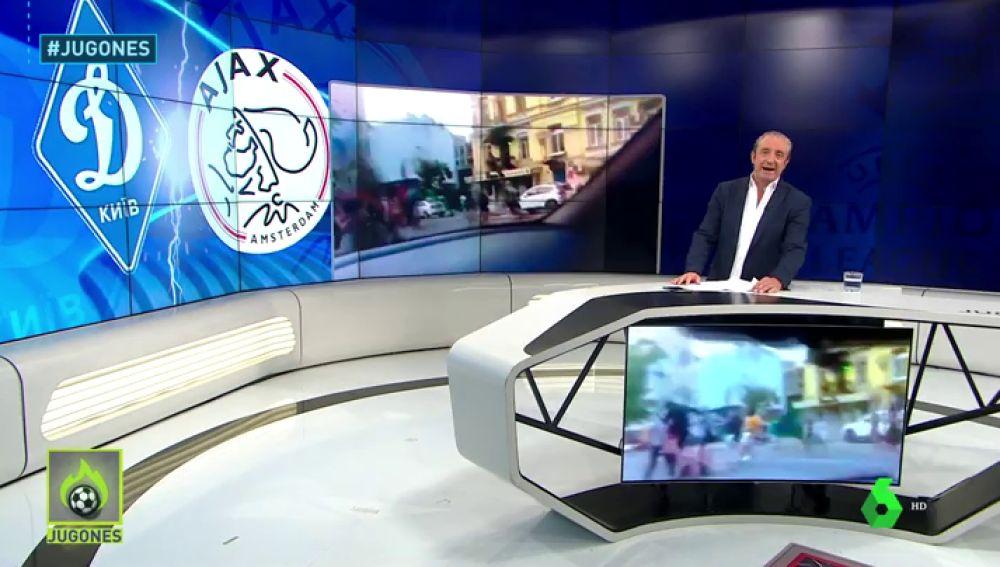 Batalla campal entre aficiones en Kiev
