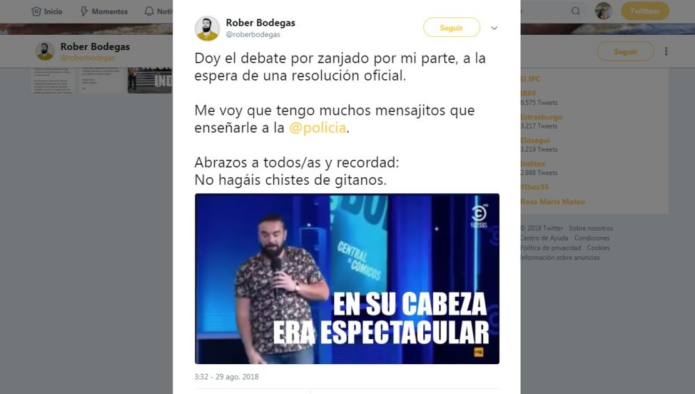 Rober Bodegas lamenta que los gitanos no le perdonen: