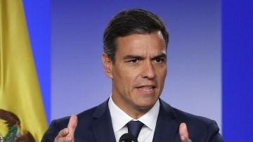 El presidente del Gobierno español, Pedro Sánchez, durante la rueda de prensa tras su reunión con el presidente de Colombia.