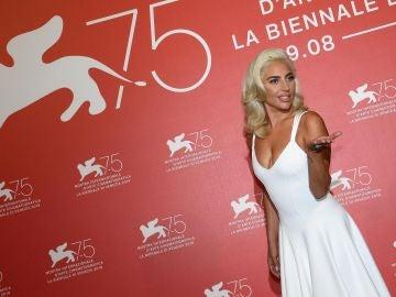 La artista Lady Gaga durante la presentación de 'Ha nacido una estrella' en el 75º Festival Internacional de Cine de Venecia