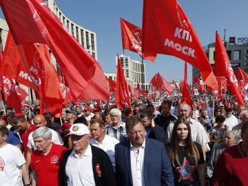 Imagen de una manifestación en Rusia contra la reforma de las pensiones