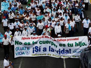 Manifestación contra el aborto en Guatemala
