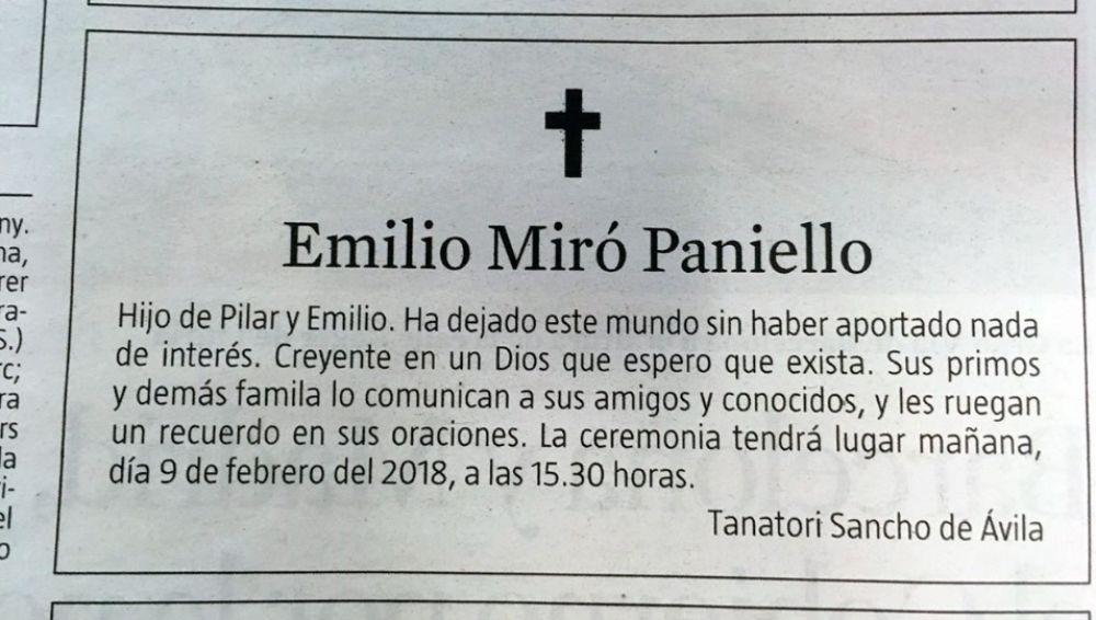 Esquela de Emilio Miró Paniello
