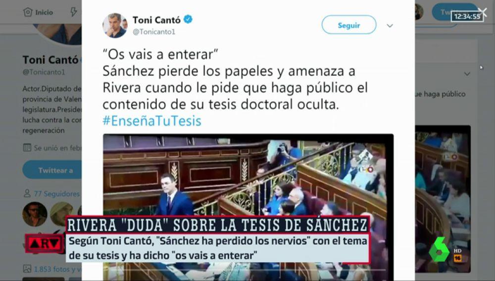 """Toni Cantó asegura que """"Sánchez ha perdido los papeles"""" con el tema de su máster y les ha dicho """"os vais a enterar"""""""
