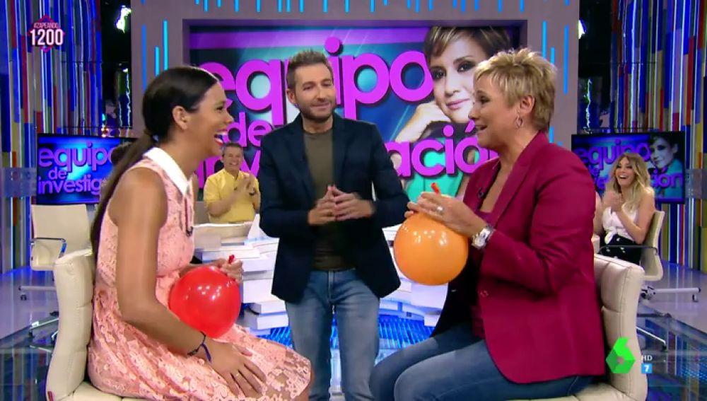 Gloria Serra intenta hablar con helio en Zapeando