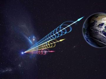 Ilustración de un FRB aproximándose a la Tierra