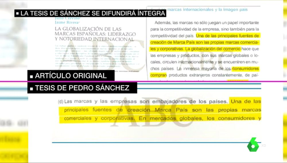 """Tesis de Pedro Sánchez: laSexta comprueba que los textos """"copiados"""" que revela ABC sí aparecen citados"""