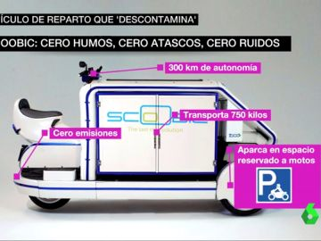 Purifica el aire, tiene 300 kilómetros de autonomía y puede cargar hasta 700 kilos: 'Scoop' es una mezcla de moto y furgoneta que muchas empresas quieren empezar a usar