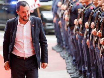 Salvini a su llegada a la reunión de la Unión Europea (UE) sobre seguridad y migración
